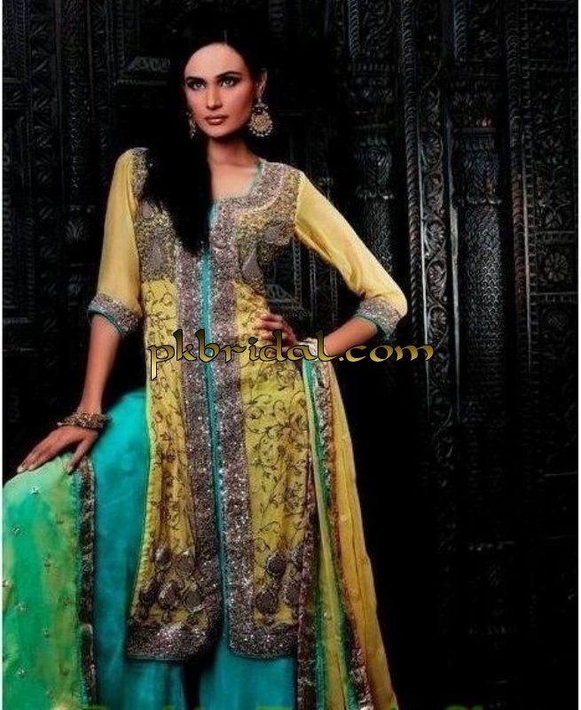 Mehndi Party Dresses : Mehndi dresses pakistani wedding dressess party