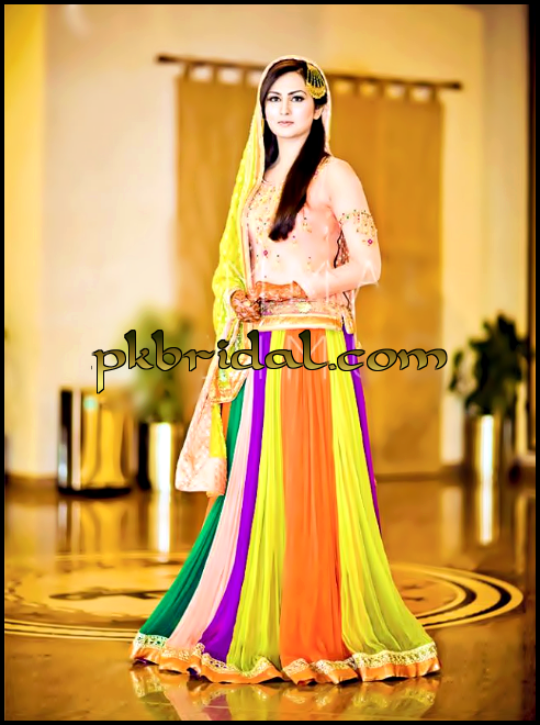 Mehndi Party Clothes : Latest mehndi ladies dresses best mayoon outfits designs