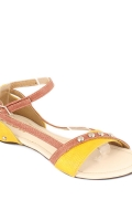 yellow-synthetic-leather-strappy-sandals