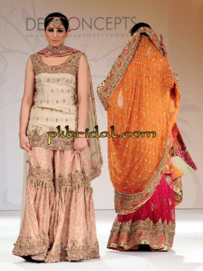 pakistani designer traditional peach gharara bridal wear