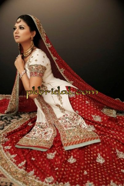 White Red Bridal Lehenga