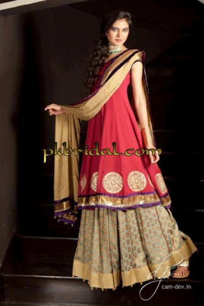 Red bridal wear frock sharara for Sharara dress for wedding online shopping
