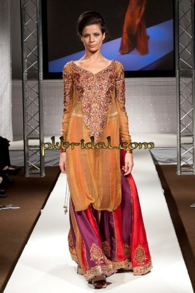 Golden red purple formal bridal sharara for Sharara dress for wedding online shopping