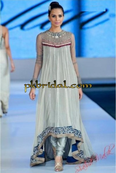 Pakistani Designer Embellished Flared Gown Evening Wear