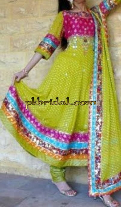Green Anarkali Mehndi Wear
