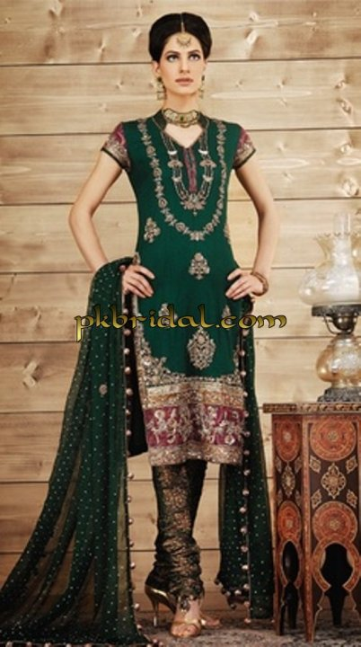 Green Mehndi Wear Suit