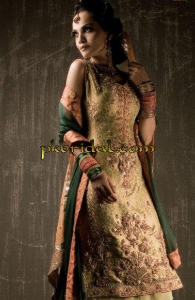 Olive Green Mehndi Wear