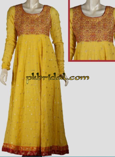 Yellow Mehndi Wear Frock
