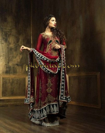 Pakistani Designer Traditional Red Bridal Wear Dress