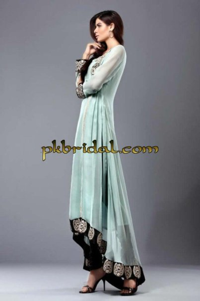 Pakistani Designer Embellished Back Train Party Wear Dress