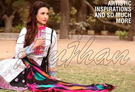 Minahil Embroidered Lawn 2015