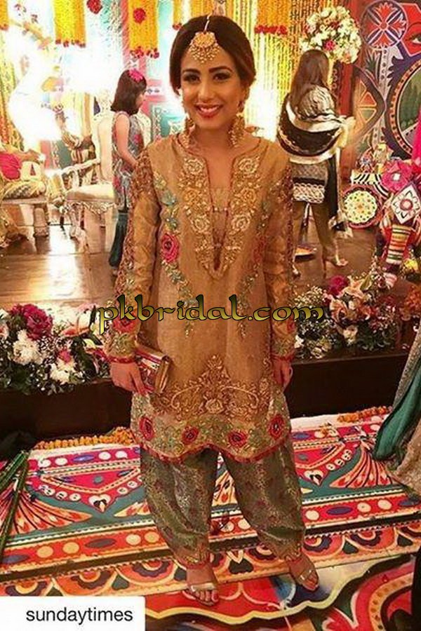 Front Open Long Gown Embroidered Party Wear Dress
